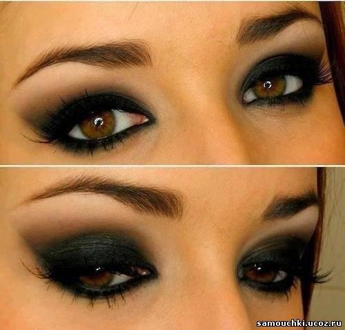 Темный макияж на карие глаза
